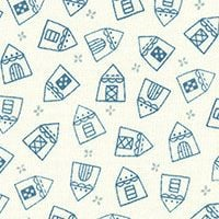 Lecien Fabric ~ American Country ~ House Blue on Cream
