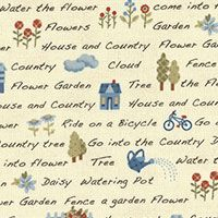 Lecien Fabric ~ American Country ~ Text Cream