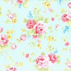Lecien Fabric ~ Antique Flower Pastel ~ Large Rose Bouquet Sky Blue
