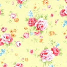 Lecien Fabric ~ Antique Flower Pastel ~ Large Rose Bouquet Yellow
