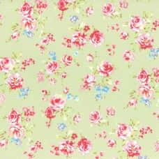 Lecien Fabric ~ Antique Flower Pastel ~ Small Rose Bouquet Green