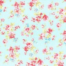 Lecien Fabric ~ Antique Flower Pastel ~ Small Rose Bouquet Sky Blue
