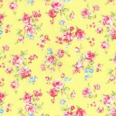 Lecien Fabric ~ Antique Flower Pastel ~ Small Rose Bouquet Yellow