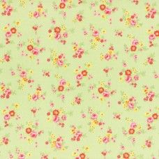 Lecien Fabric ~ Antique Flower Pastel ~ Tiny Rose Bouquet Green