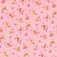 Lecien Fabric ~ Antique Flower Pastel ~ Tiny Rose Bouquet Pink