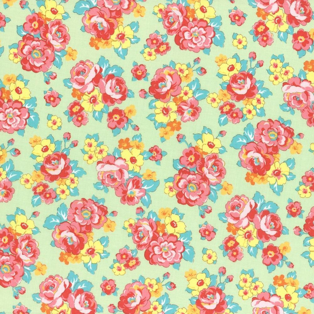 Lecien fabric retro 30 39 s smile child bouquet green for Fabric sites