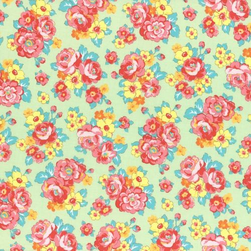 Lecien Fabric ~ Retro 30's Smile Child ~ Bouquet Green