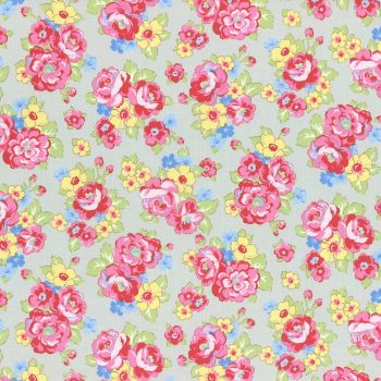 Lecien Fabric ~ Retro 30's Smile Child ~ Bouquet Grey