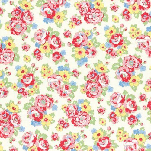 Lecien Fabric ~ Retro 30's Smile Child ~ Bouquet Ivory