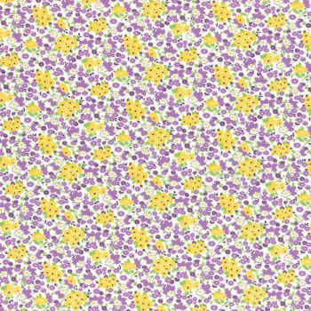 Lecien Fabric ~ Retro 30's Smile Child ~ Floral Purple & Yellow