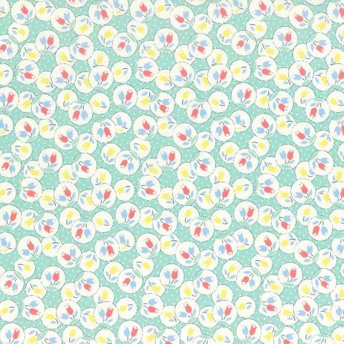 Lecien Fabric ~ Retro 30's Smile Child ~ Tulips Aloe