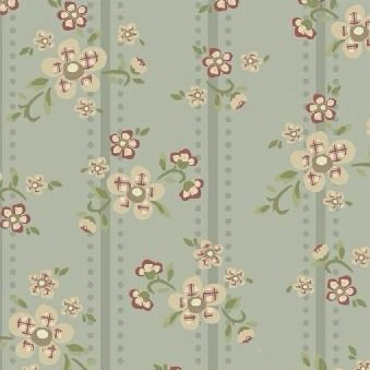 Windham Fabrics ~ Elm Cottage ~ Floral Stripe Blue