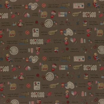 Lecien Fabric ~ Little Heroines ~ Notions Brown