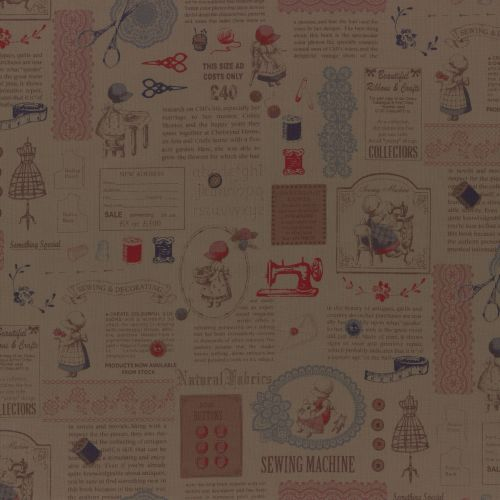 Lecien Fabric ~ Little Heroines ~ Text Brown