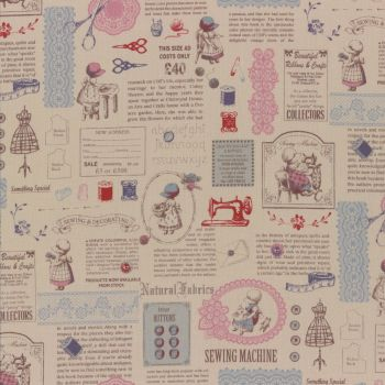 Lecien Fabric ~ Little Heroines ~ Text Pink