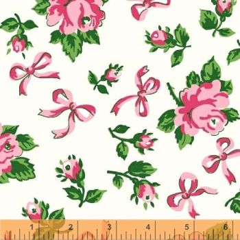 Windham Fabrics ~ First Blush ~ Ribbons & Roses Pink on White