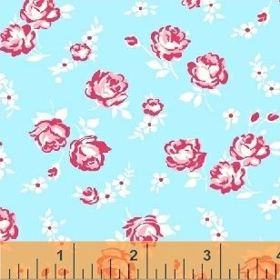 Windham Fabrics ~ First Blush ~ Roses & Daisies Aqua