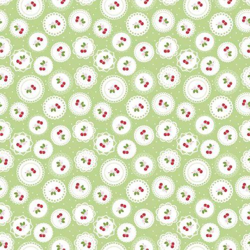 Riley Blake Fabric ~ Sew Cherry 2 ~ Doily Green