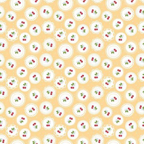 Riley Blake Fabric ~ Sew Cherry 2 ~ Doily Yellow