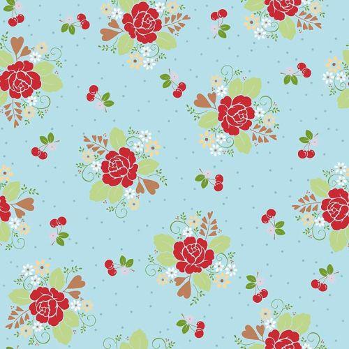 Riley Blake Fabric ~ Sew Cherry 2 ~ Main Aqua