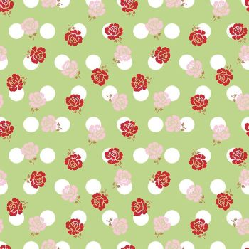 Riley Blake Fabric ~ Sew Cherry 2 ~ Rose Green