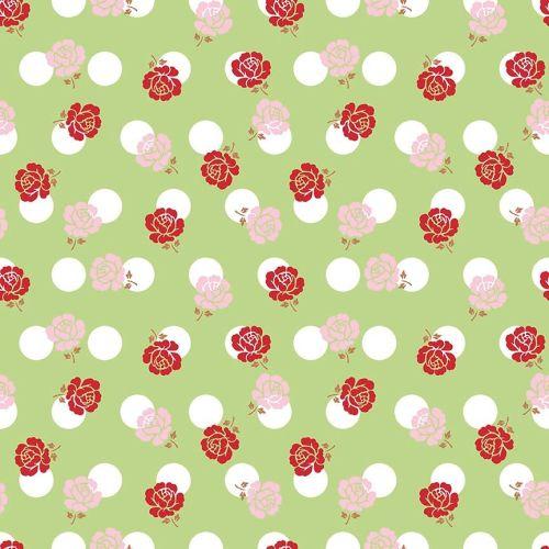 Riley Blake Fabric ~ Sew Cherry 2 ~ Rose Green