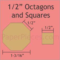 """Patchwork Paper Pieces ~ Octagons 1/2"""" & Squares 1/2"""""""