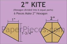 Patchwork Paper Pieces ~ Hexagon Kite 2""