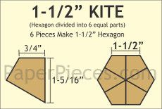 Patchwork Paper Pieces ~ Hexagon Kite 1 1/2""