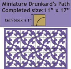 Patchwork Paper Pieces and Pattern ~ Miniature Drunkards Path Mini Quilt / Wall Hanging