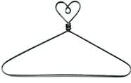 "6"" Heart Wire Hanger and clips"