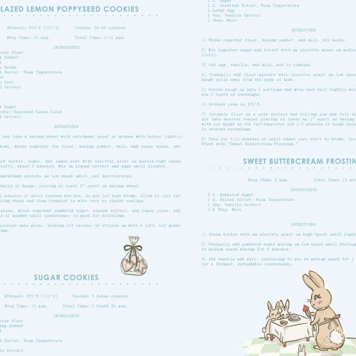 Penny Rose Fabrics ~ Bunnies & Cream ~ Recipes Blue