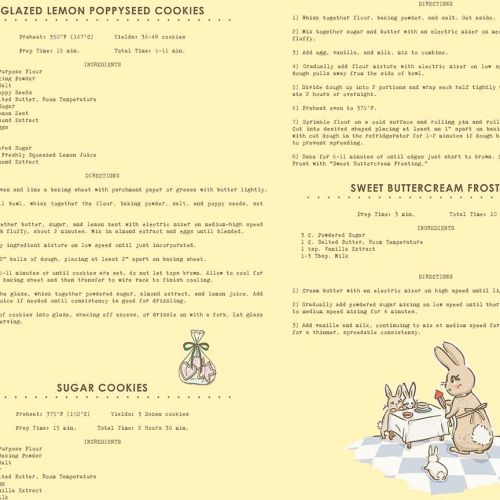 Penny Rose Fabrics ~ Bunnies & Cream ~ Recipes Yellow