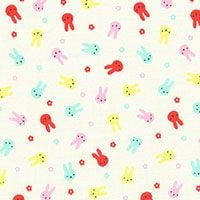 Lecien Fabric ~ Mini Muu ~ Bunnies Ivory