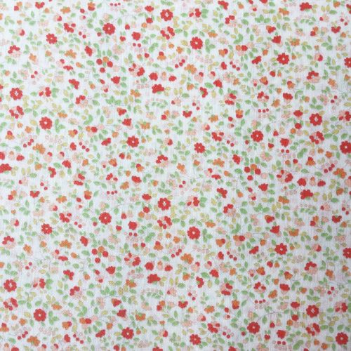 Sevenberry Fabric ~ Little Leaves and Flowers Coral