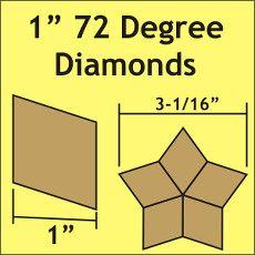 "Patchwork Paper Pieces ~ 72 Degree Diamond 1"""