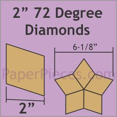 Patchwork Paper Pieces ~ 72 Degree Diamond 2""