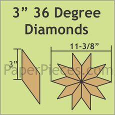 Patchwork Paper Pieces ~ 36 Degree Diamond 3