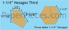 Patchwork Paper Pieces ~ Hexagon Thirds 1 1/4""