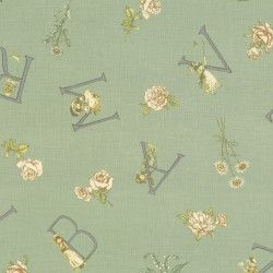 Lecien Fabric ~ Kate Greenaway ~ Alphabet Green