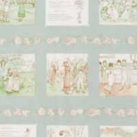Lecien Fabric ~ Kate Greenaway ~ Text and Pictures in Green (Half Metre)