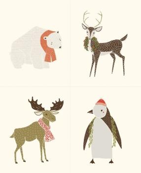 Moda Fabric ~ Merrily ~ Panel Winter Critter