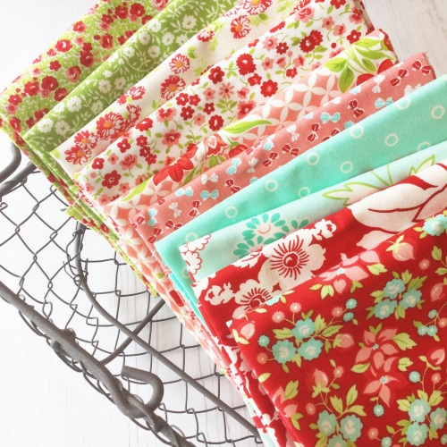 Moda Fabric ~ Fat Quarter Bundle ~ Bonnie and Camille Favourites in Red, Aq
