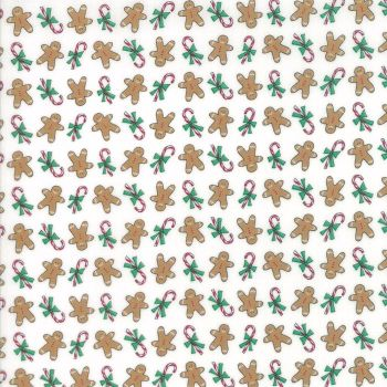 Moda Fabrics ~ Sugar Plum Christmas ~ Gingerbread Boys Icicle White