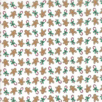 Moda Fabrics ~ Sugar Plum Christmas ~ Gingerbread Boys Icicle White