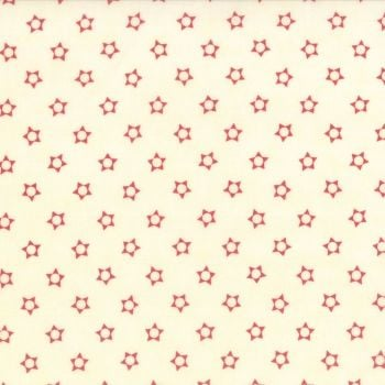 Moda Fabrics ~ Snowfall ~ Stars Red on Snow