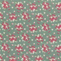 Lecien Fabric ~ La Conner ~ Bouquet in Evergreen Metallic