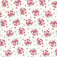 Lecien Fabric ~ La Conner ~ Bouquet in White Metallic