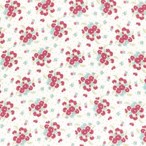 Lecien Fabric ~ La Conner ~ Bouquet in White Metallic