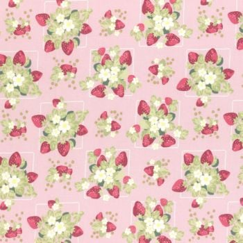 Lecien Fabric ~ La Conner ~ Strawberries in Peony Metallic